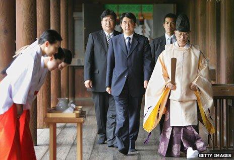 Japanese Prime Minister Shinzo Abe, visiting the Yasukuni Shrine in 2012