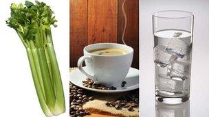 Celery, coffee, water
