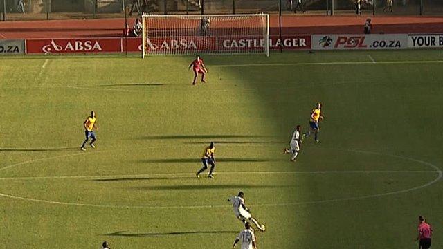 SuperSport United defender Mor Diouf scores from 70 yards