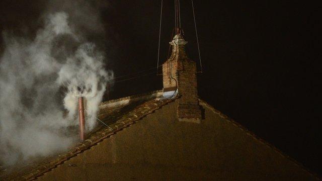 White smoke above the Sistine Chapel