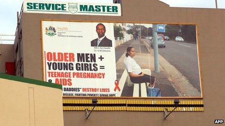 A billboard in Durban, South Africa, discouraging young girls from having sex with older men (23 July 2012)