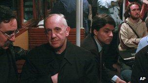 Cardinal Jorge Mario Bergoglio travels on the underground in Buenos Aires, Argentina, in 2008