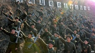 North Korean soldiers shouting anti-US slogans at an undisclosed location