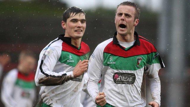 Richard Clarke celebrates his goal against Ballinamallard United