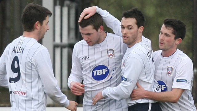 Coleraine players celebrate Stephen Lowry's goal against Dungannon Swifts