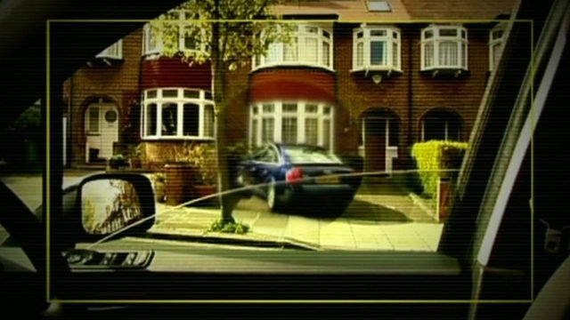 Graphic of house and car as seen through a photographer's lens