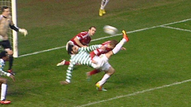 Celtic striker Georgios Samaras scores a dramatic overhead kick