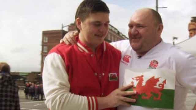 Rick O'Shea and a Wales fan