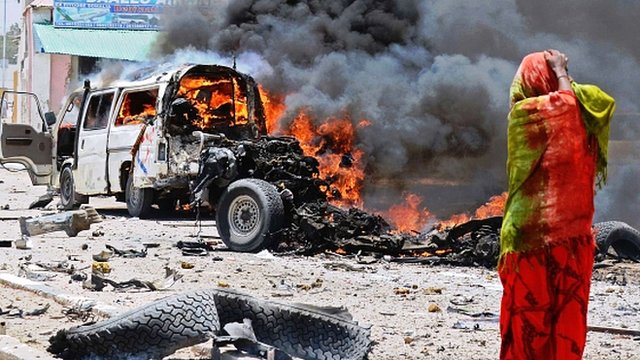 Burning minibus