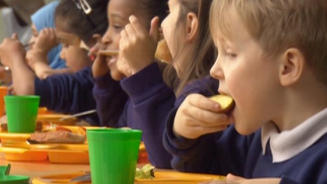 Children eating at school