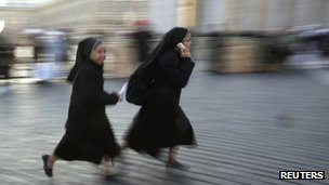 Nuns in St Peter's Square, Rome, 19 March