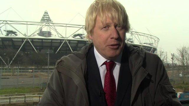Mayor of London Boris Johnson in front of the Olympic Stadium