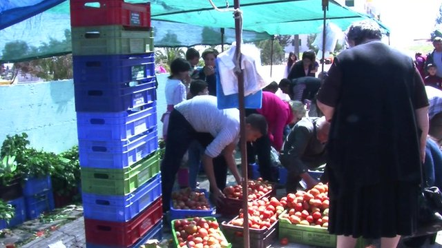 Farmers market outside of Nicosia near Anthopoulis in Cyprus