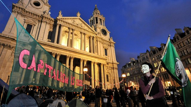 "Occupy London Stock Exchange protest: City protesters settle in for a second night on the steps of St Paul""s Cathedral in London"