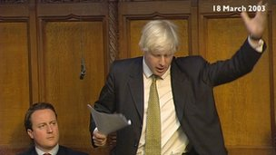 Boris Johnson speaks, watched by David Cameron, while the pair were on the backbenches during the 2003 debate on the Iraq war