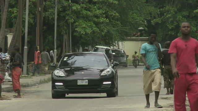 Porsche on Nigerian street