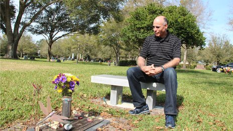 Irv Hoffman at his daughter's grave