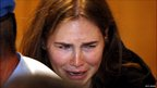 Amanda Knox in tears after the appeal ruling