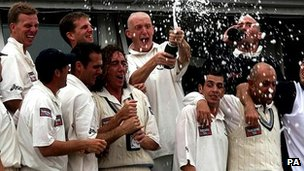 Yorkshire players celebrate the County Championship title in 2001