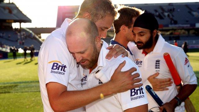 Matt Prior of England is hugged by Stuart Broad