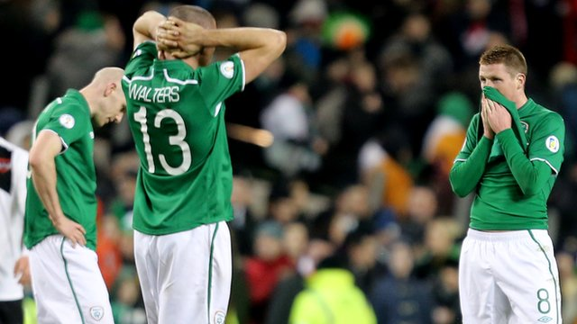 Disappointed Republic of Ireland players after the 2-2 draw with Austria