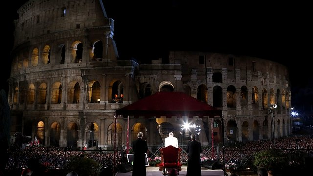 Pope Francis at the Way of The Cross procession at the Colosseum on Good Friday