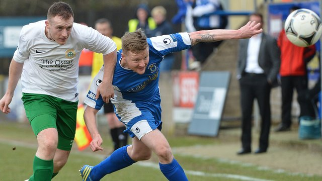 Match action from Dungannon Swifts against Donegal Celtic