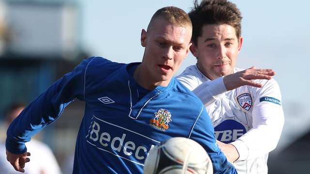 Match action from Glenavon against Coleraine from Mourneview Park