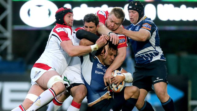 Match action from Leinster against Ulster