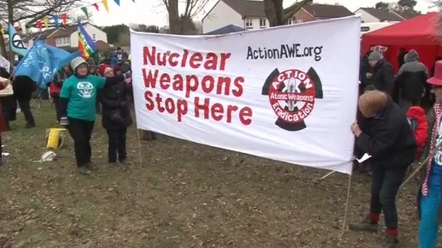 The demonstration marked the start of a month-long protest called Stop Fooling With Nuclear Weapons