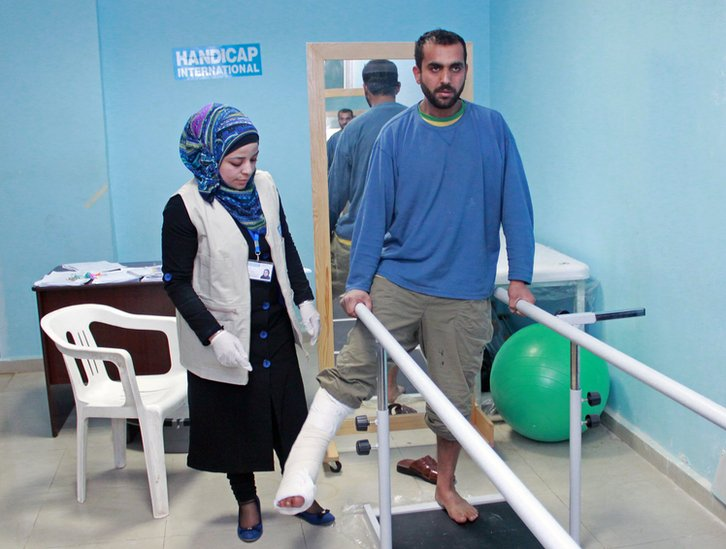 Firaz Mahmood at a hospital in northern Jordan