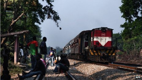 A train approaches the Muanza station, some 100km north of Beira, on the Sena Line on 3 November 2010