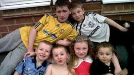 Duwayne Philpott, 13, Jade Philpott, 10, and brothers John, nine, Jack, seven, Jesse, six, and Jayden, five