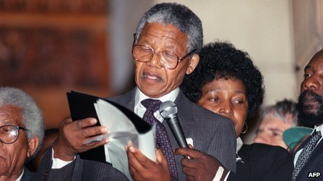 Nelson Mandela delivers his first public speech after his release from prison in Cape Town on 11 February 1990