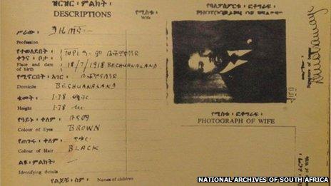 Nelson Mandela's fake passport under the alias of David Motsamayi
