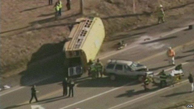 Scene of bus crash near Chicago