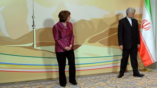 EU foreign policy chief Catherine Ashton with Iranian negotiator Saeed Jalili