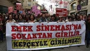Istanbul protest, banner reads: 'You should enter Emek Cinema through the street – not with diggers'