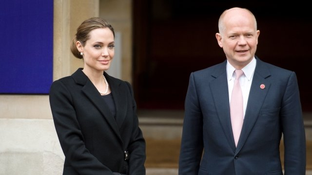 Angelina Jolie and UK Foreign Secretary William Hague