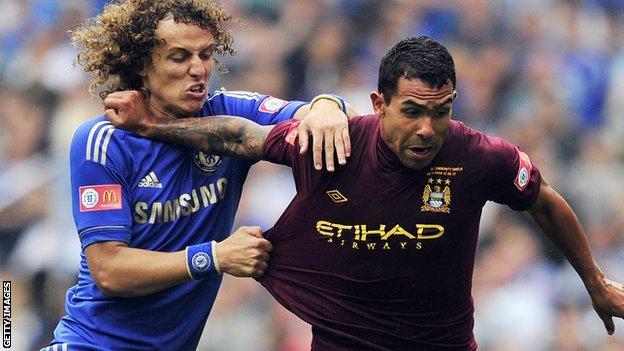 Chelsea defender David Luiz and Manchester City striker Carlos Tevez