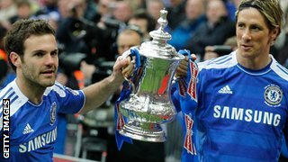 Juan Mata and Fernando Torres after winning the FA Cup in 2012