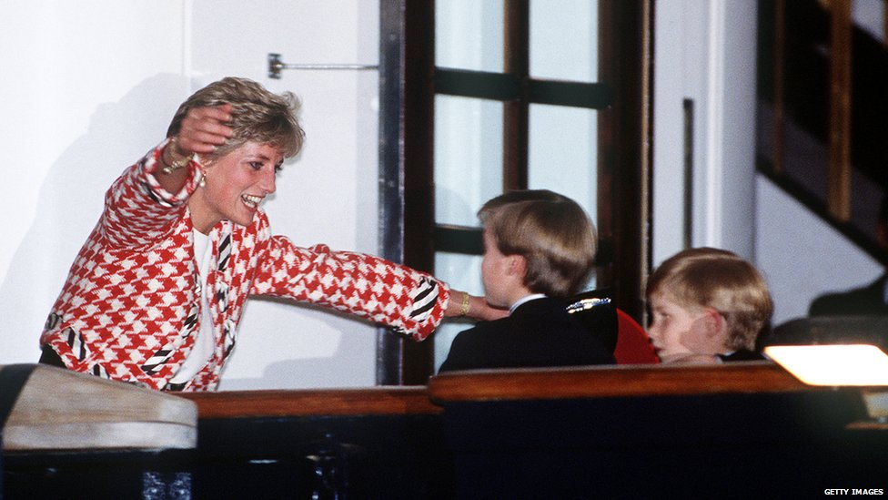 Princes William and Harry with the Princess of Wales