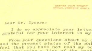 Letter heading from Maria von Trapp