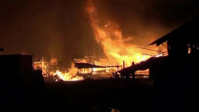 A fire raging in Mandalay on Friday morning
