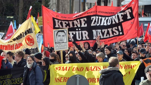 Protesters demonstrate against far right terror