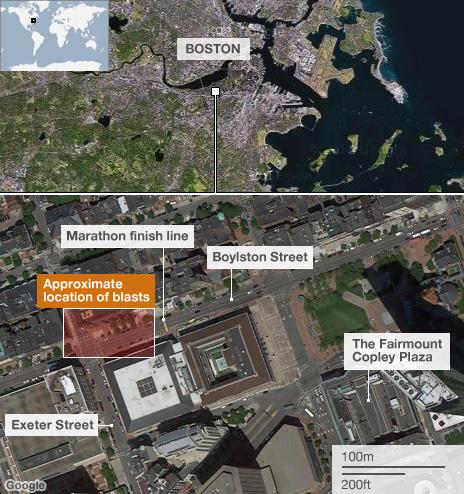 Graphic showing Boston Marathon explosions