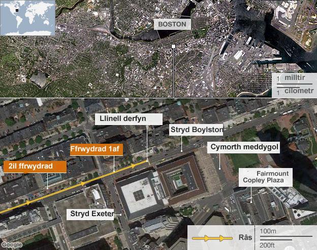 Map o ardal y Marathon