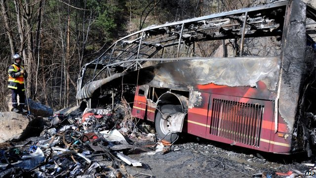 Wreckage of a bus in French Alps