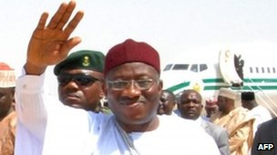 Nigeria's President Goodluck Jonathan on a tour of Borno state in northern Nigeria in March 2013