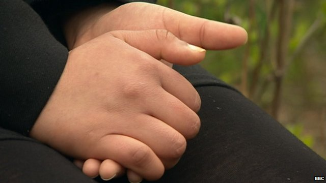 The hands of Alia, a victim of forced marriage too scared to reveal her identity.